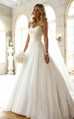 Appliques White Ivory Wedding Dress Bridal Gown Custom Size 6 8 10 12 14 16 18++
