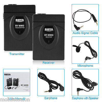 BOYA BY-WM5 2.4GHZ Wireless Lavalier Microphone For Canon DSLR Camera Camcorder