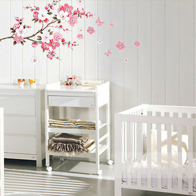 Peach Blossom Flower Butterfly Removable Wall Sticker Wall Decor Decal Red