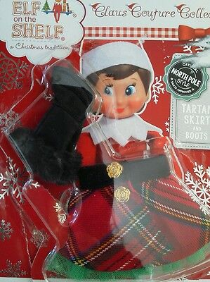 Elf on The Shelf Claus Couture Collection® Tartan Skirt and Boots Girl Clothes