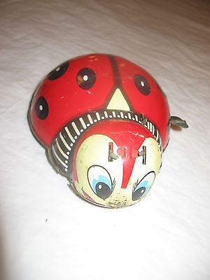 VINTAGE LADY BUG WIND UP TOY BY HAJI OF JAPAN.THIS IS A FRANKONIA TOY.