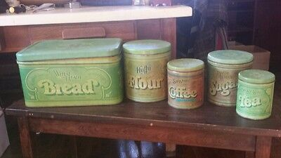 Vintage 70's  Ballonoff Metal 4 pi Canister Set +  Bread Box