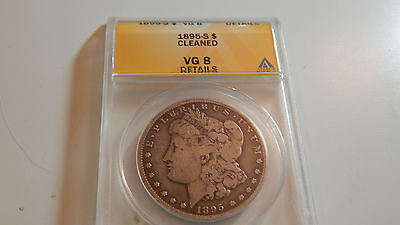 1895 S Morgan Dollar. ANACS VG 8 Details. Cleaned.