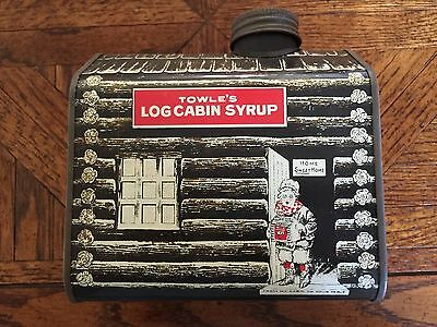 Vintage 1979 Towle's Log Cabin Syrup Tin Bank
