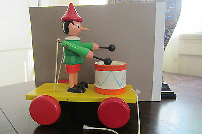 BINO WOODEN PINOCCHIO PULL TOY VINTAGE MADE IN EUROPE RETIRED RARE COLLECTIBLE