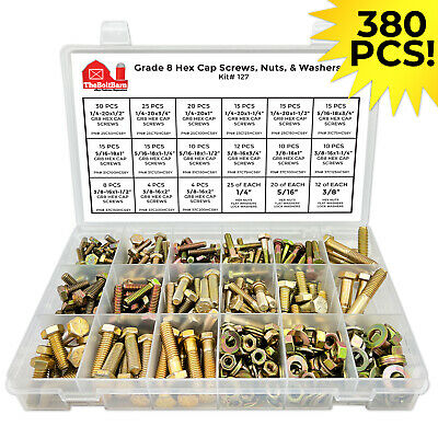 Grade 8 Bolts, Nuts & Washers Assortment Kit - 380 Pieces! FREE SHIPPING!