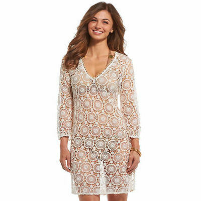 Mud Pie Mallory Flower Crochet Cover Up With Gold Trim in Cream