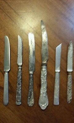 "Lot of 6 Assorted Vintage Knives. 5.5"" To 8.5"" Long Mixed Metals Unique Designs"