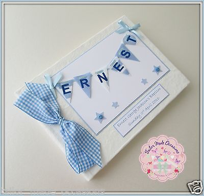 Personalised Christening Guest Book Album. Bunting Girl's Boy's Available.