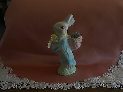 "NICE PASTEL BLUE, PINK AND GREEN 10.5"" PAPER MACHE EASTER BUNNY"