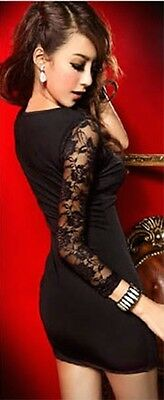 New Sexy Clubwear Party Mini Dress One Floral Lace Sleeve Black One size