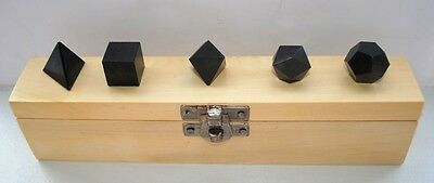 5 pcs. Black Tourmaline Geometry Set in wooden box Platonic Solids SZC6