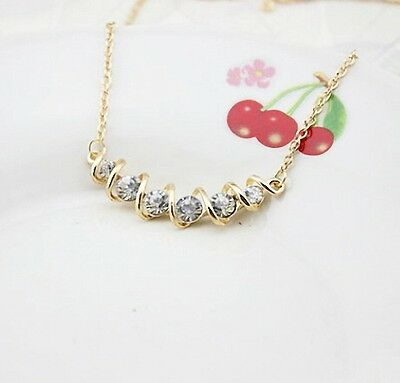 Free shipping Womens 9K Yellow Gold Filled AAA CZ Spiral Necklace & Pendant E583