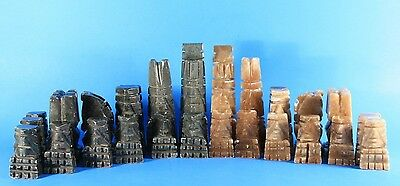 """32 Aztec Mayan Chess Pieces Solid Marble 6"""" Tall King COMPLETE SET"""