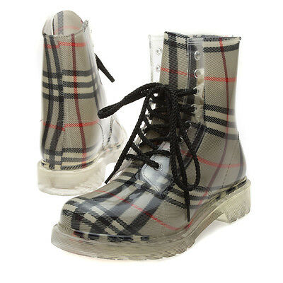 Hot Beige Black Red Plaid Ankle Flat Lace Up Low Heel Rain Boot Bootie US 5.5