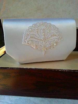 Vintage 80s Bride Prom Dyeables Purse Handbag White Beaded Sequence Long Chain