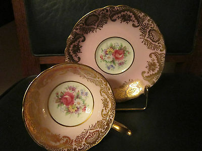 Vintage PARAGON Tea Cup and Saucer Pink Rose on Pink with Gold HP Queen Mary