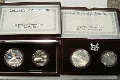 Lot of 4 Coins - 1992 Olympic Silver Dollars & Clad Half's, PROOF & UNC With COA