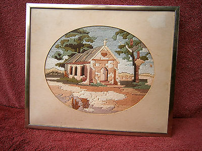 Lovely  Longstitch  Wool  Church Tapestry  In   Metal Frame