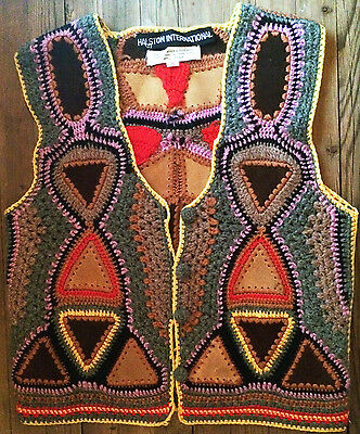 Stunning Boho Chic Vintage Retro Vest Halston International Crocheted with Suede