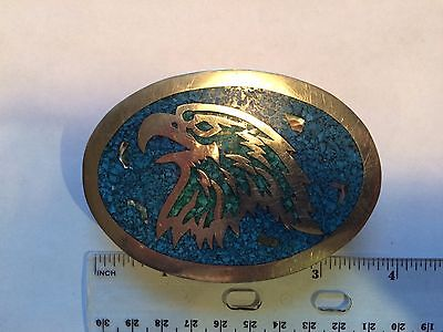Vintage Crushed Turquoise Mother Pearl Inlay Eagle Hecho en Mexico Belt Buckle