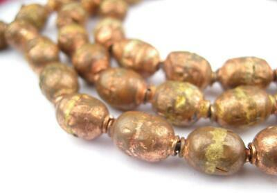 Copper Ethiopian Prayer Beads 8mm African Oval 34 Inch Strand Handmade