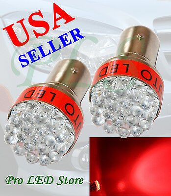 Two Pcs 1156 1159 1259 Red 19 LED BA15S Signal Turn Tail Parking Lights