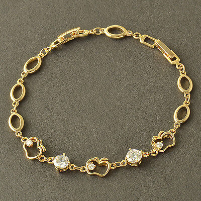 8.66 Inches,Authentic 9K Solid Gold Filled CZ Womens Apple Bracelet,Z3717