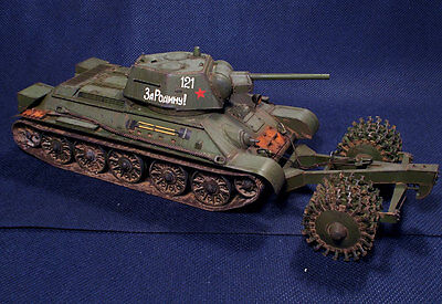 PRO BUILT 1/35 WWII Soviet Medium Tank T-34/76 with mine roller + PE set Eduard