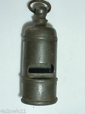 ANTIQUE PEWTER WHISTLE ROUND VENTED STUBBY #6