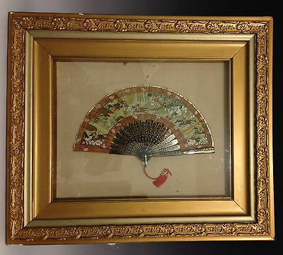 Antique Late 19th Century Framed Chinese Lacquer Hand Painted Mandarin Scene Fan