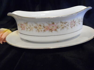 "NITTO ""LA SCALA"" FINE CHINA GRAVY BOAT DISH W/ATTACHED UNDERPLATE"