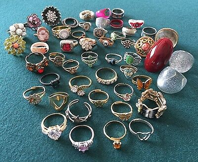 Lot of 50 RINGS Vintage - Now Fashion/Costume Jewelry - Rhinestone/Bead/Plastic