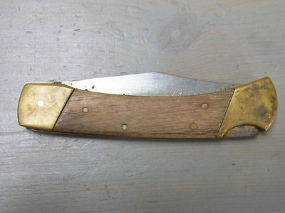 я Z27 Gorgeous MUT Folding Clasp Pocket Knife Wood Metal Stainless Blade 1970's