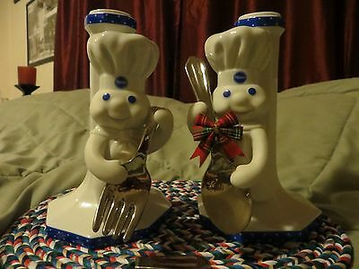 """The Pillsbury Doughboy from The Danbury Mint. """" A set of Candle Sticks. 2000"""