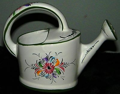HAND PAINTED PORTUGAL FLORAL WATERING CAN WATER