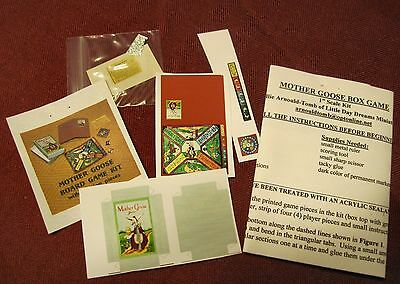 KIT - 1/2 Scale Mother Goose Box Game Kit- Lots of Game Pieces-Artisan Made