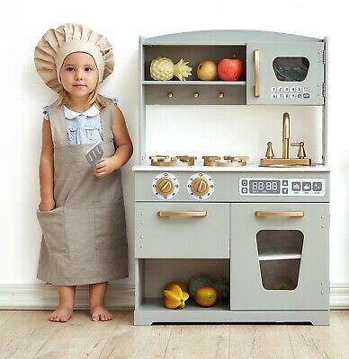 Hooga Wooden Vintage Play Kitchen Pretend Play Toy for Kids Grey/ Gold -HG19001G