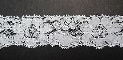 "8 yards X 1 5/16"" wide Vintage Floral LACE in Nylon and is Off-White from age"