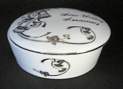 25th Silver Wedding Anniversary Oval Trinket Box Lefton China White Doves Bells