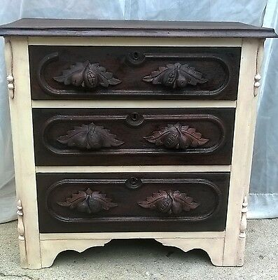 Shabby Chic Antique Victorian Walnut Dresser With Fruit Pulls