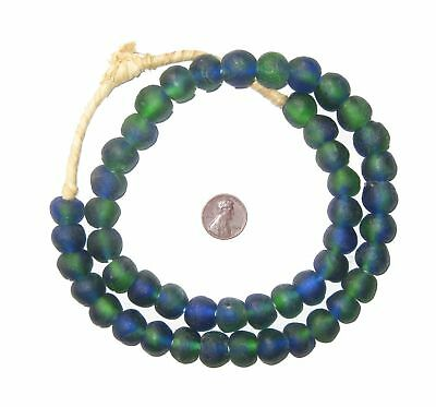 African Recycled Glass Beads - 14mm (Blue-Green) Ghana
