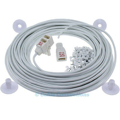 7M White Telephone Lead Sky Bt Virgin Media Extension Plug To Socket Cable Kit