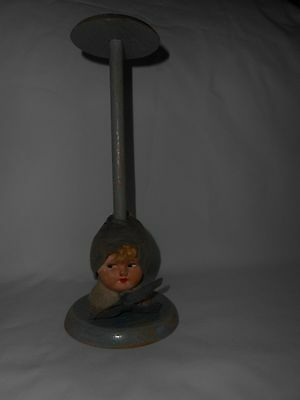 VINTAGE BLUE DOLL HEAD HAT STAND