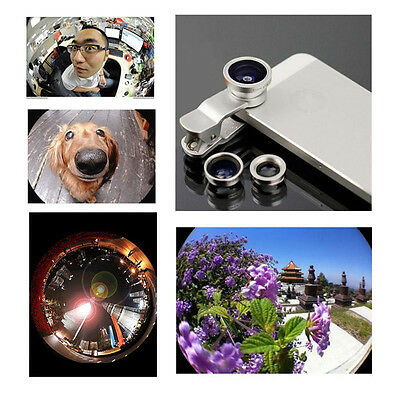 Silver 3in1 Clip On Lens Fisheye 180 Wide Angle Macro Lens for iPhone Samsung LG
