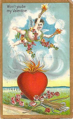 1910 Won't You be My Valentine Cupid Flaming Heart Archer Vintage Postcard