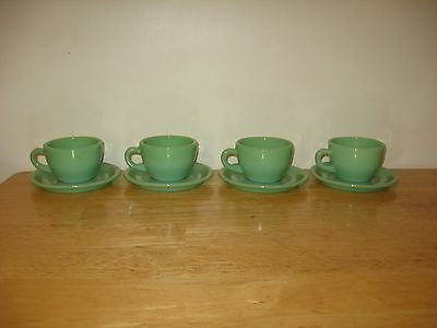 VINTAGE FIRE KING JADE-ITE  RESTAURANT WARE EXTRA HEAVY CUP AND SAUCER....4 SETS