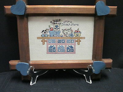 Country Home Sweet Home Needlepoint Cross Stitch Wood Frame Blue Hearts Vintage