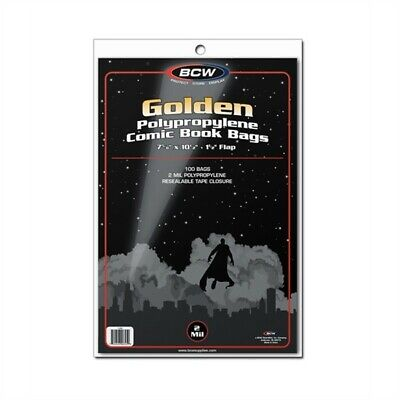 100 BCW Golden Age Comic Book Archival Poly Bags +Acid Free Backer Boards