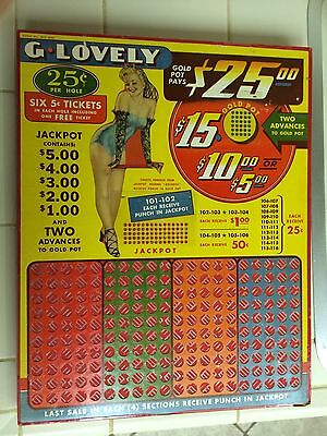 Vintage Punch Board Gamble Device Slot Machine Gumball Pinup Girl 1930's Art